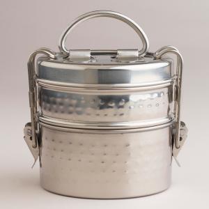 Hammered Metal Tiffin Lunch Box | World Market $9.99